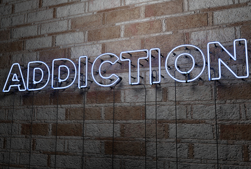 types of addiction - word addiction on wall - willingway