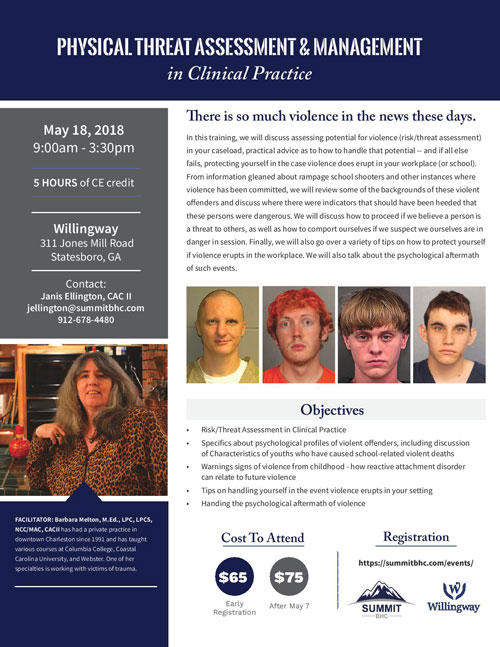Physical Threat Assessment and Management May 18, 2018 - Willingway Events