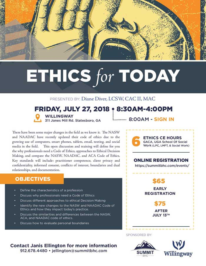Ethics For Today - Willingway Events - Summit BHC Events