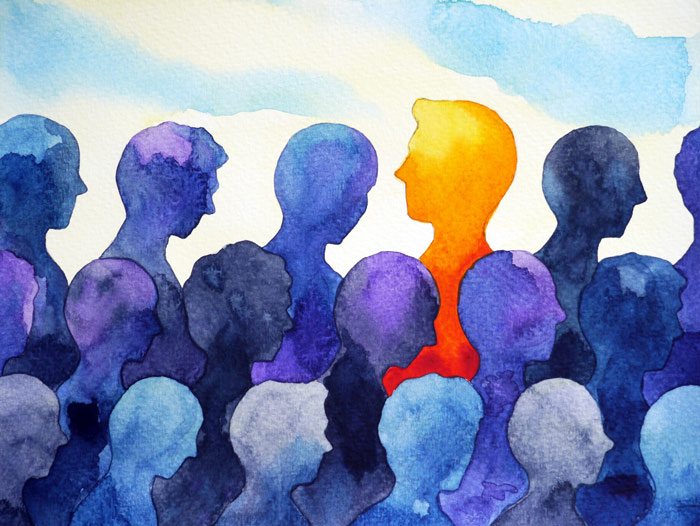 watercolor painting of blue crowd of people with orange person in the middle - group therapy