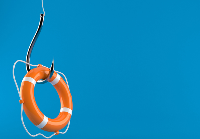 orange life buoy on a fish hook - blue background - MAT
