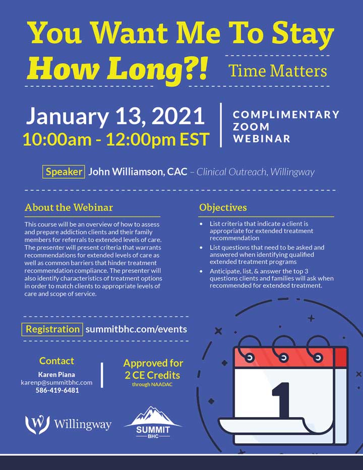 You Want Me to Stay How Long?! January 13, 2021 - Webinar